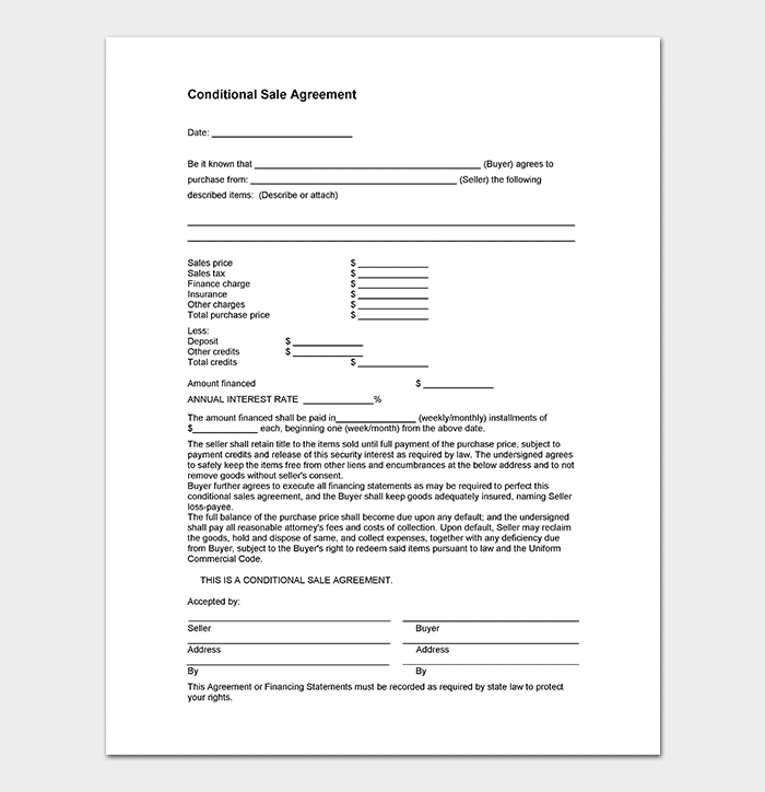 Conditional Sales Agreement Template Sample