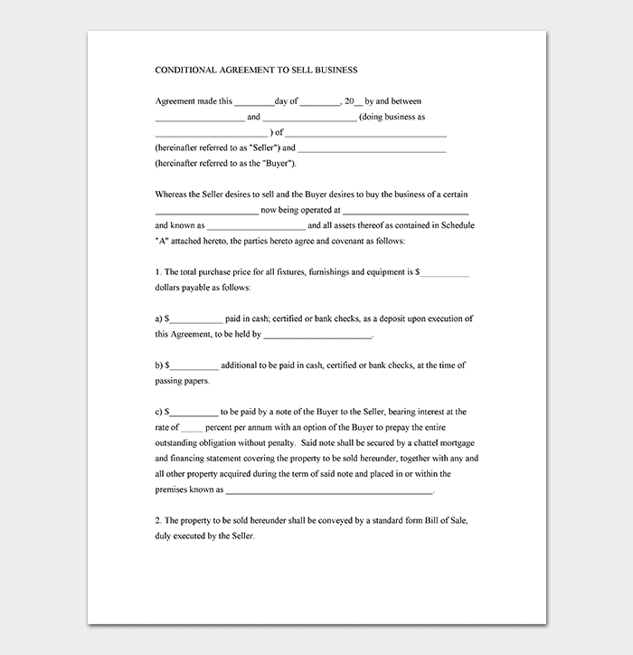 Conditional Sales Agreement Template WORD