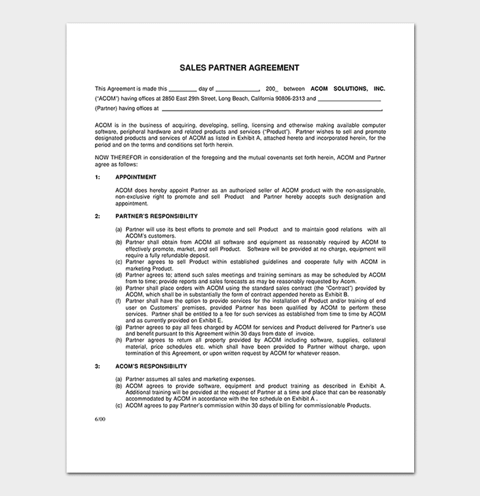 Conditional Sales Partner Agreement Template