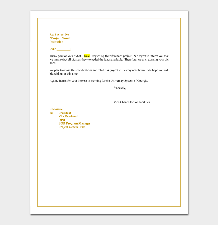 bid rejection letter