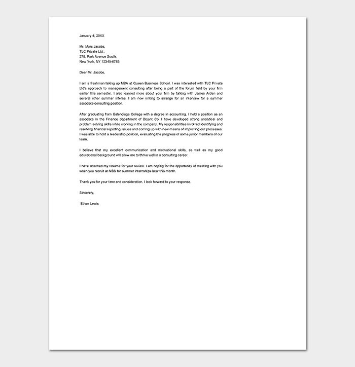 Consulting Internship Cover Letter
