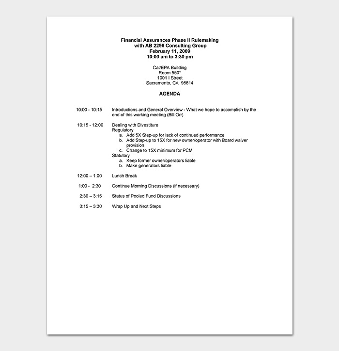Consulting Workshop Agenda Template