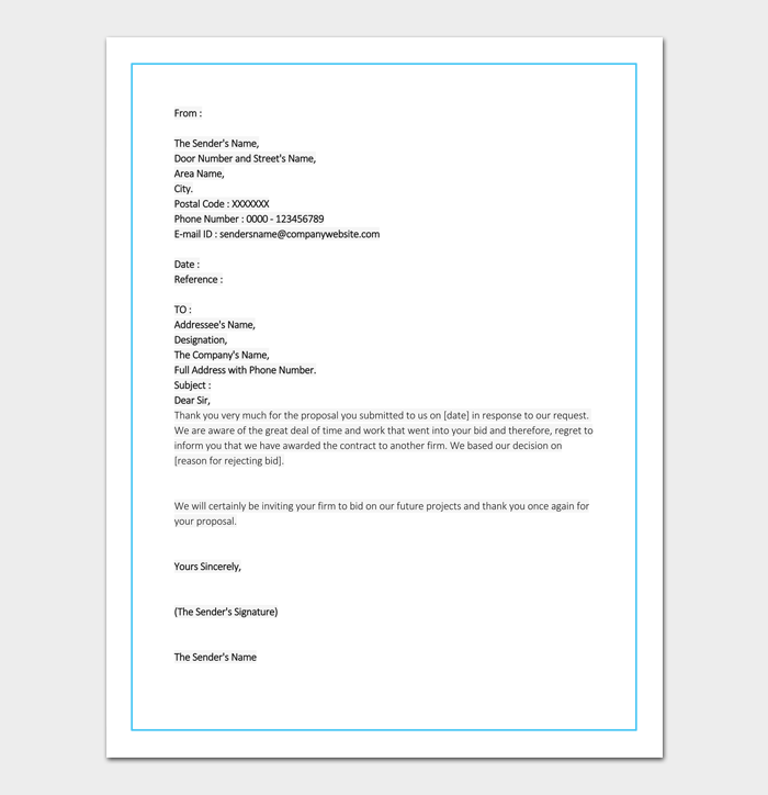 Bid rejection letter 10 samples examples contractor bid rejection format stopboris Gallery