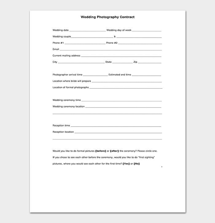 Corporate Photography Contract