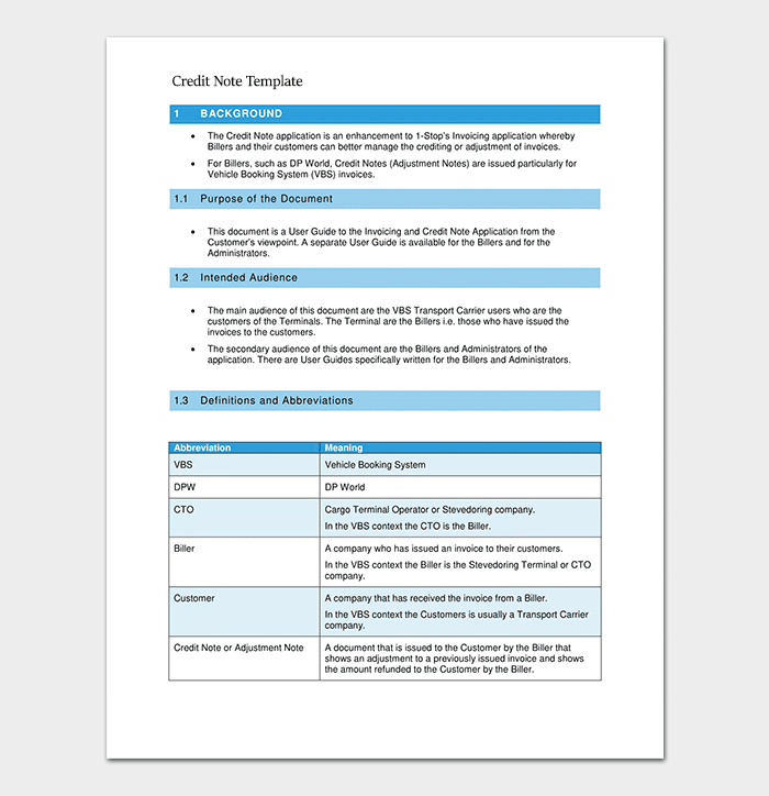 Credit Note Application Template