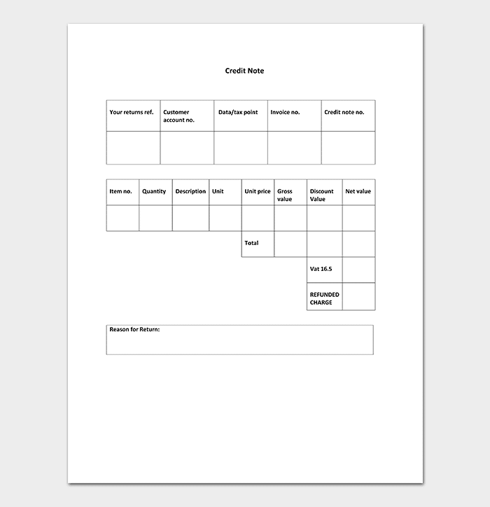 Credit Note Template DOC
