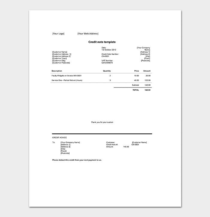 Credit Note Template Doc Format