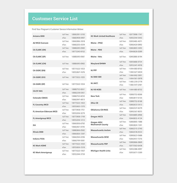 Customer Service List