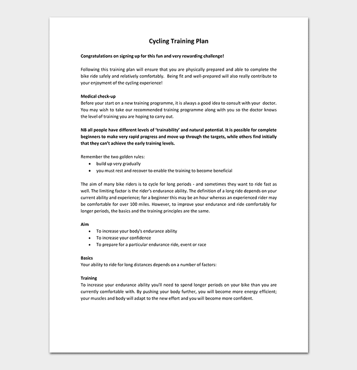 Cycling Training Plan Template