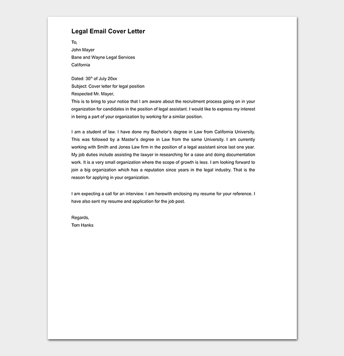 Email Cover Letter Template Gallery - Template Design Ideas