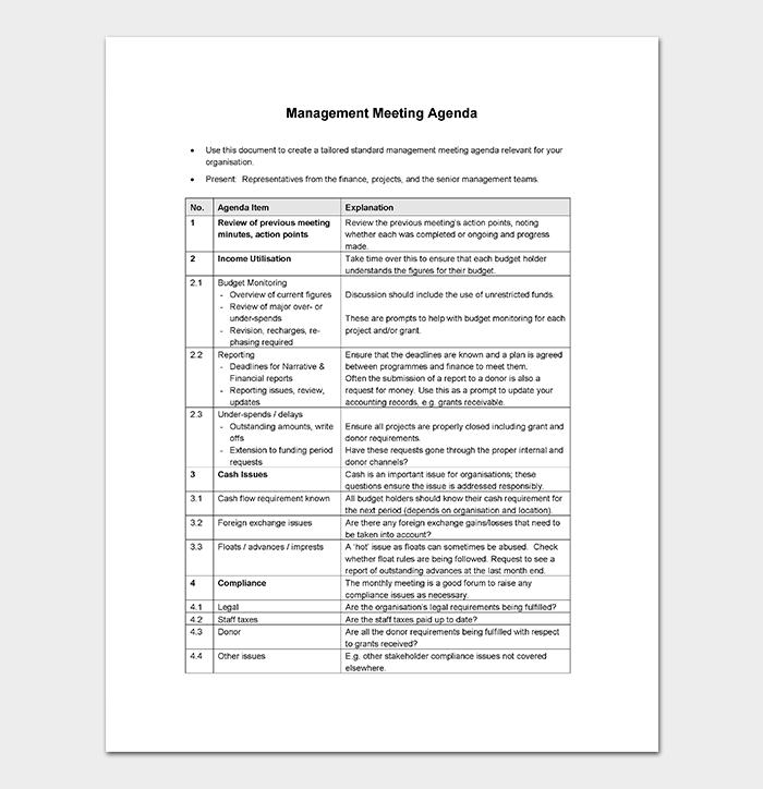 management meeting agenda template