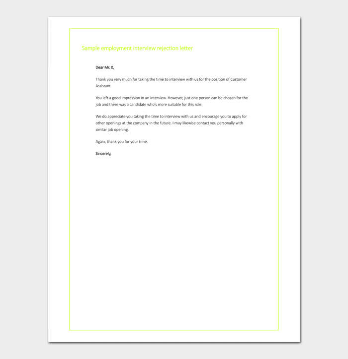 Employer Interview Rejection Format