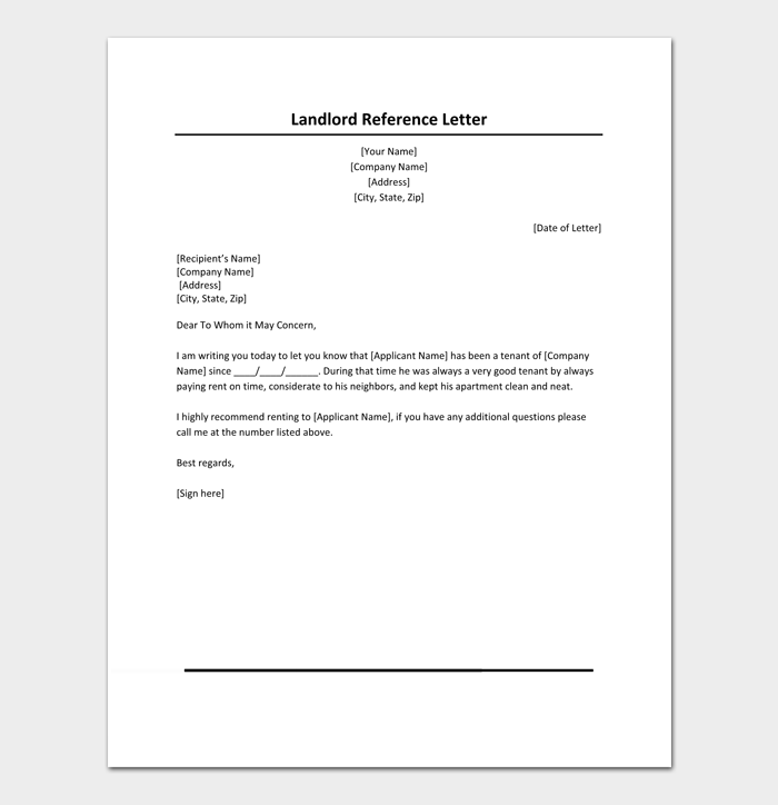 Rental Reference Letter Template 12 Samples Examples