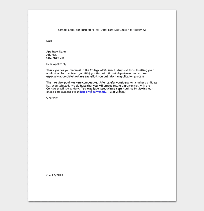 Employment Application Rejection Sample Letter