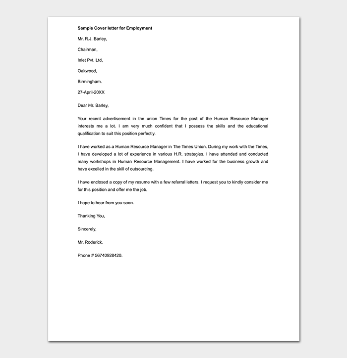 Employment Cover Letter Word