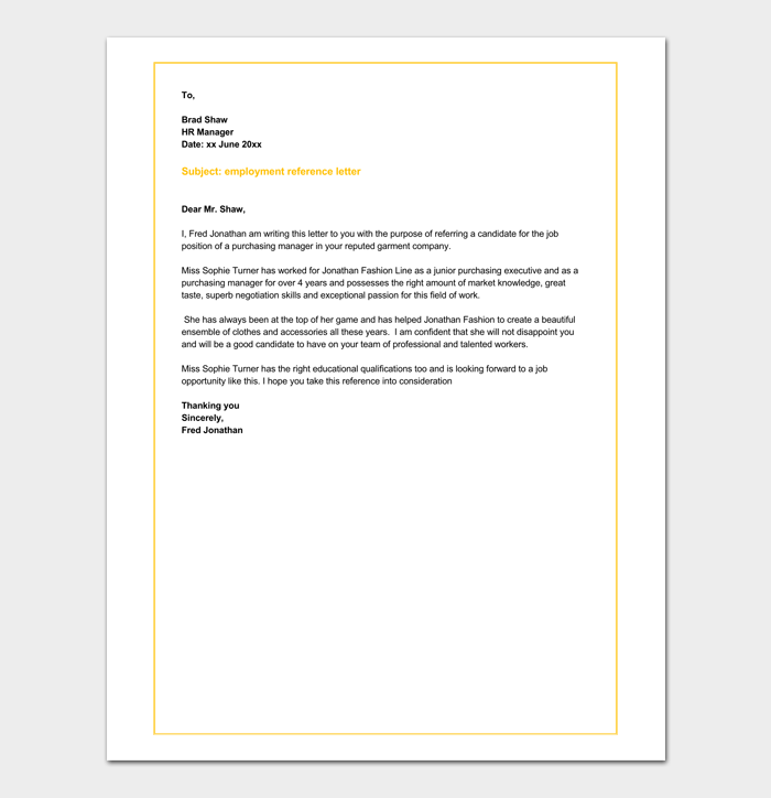 Employment Job Reference Letter