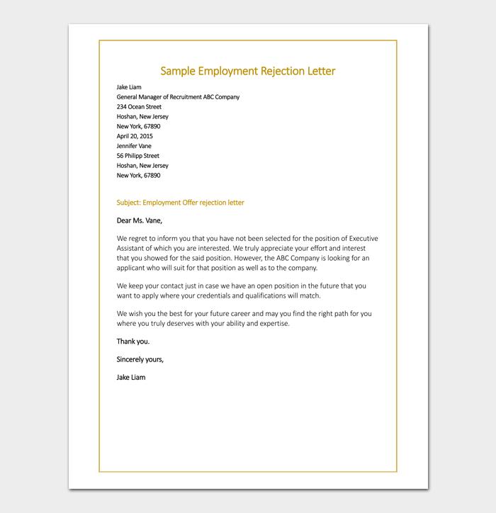Employment Offer Rejection Sample Letter
