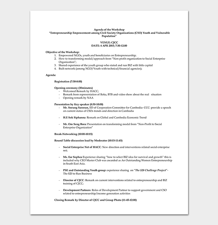 Entrepreneurship Workshop Agenda Template