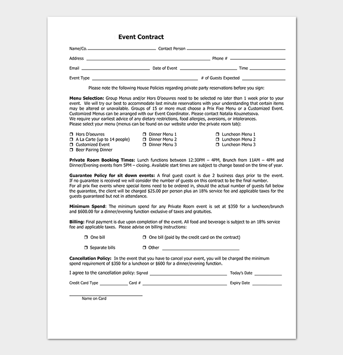 event contract template