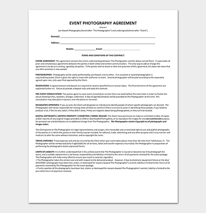 Event Contract Template 19 Samples Examples In Word