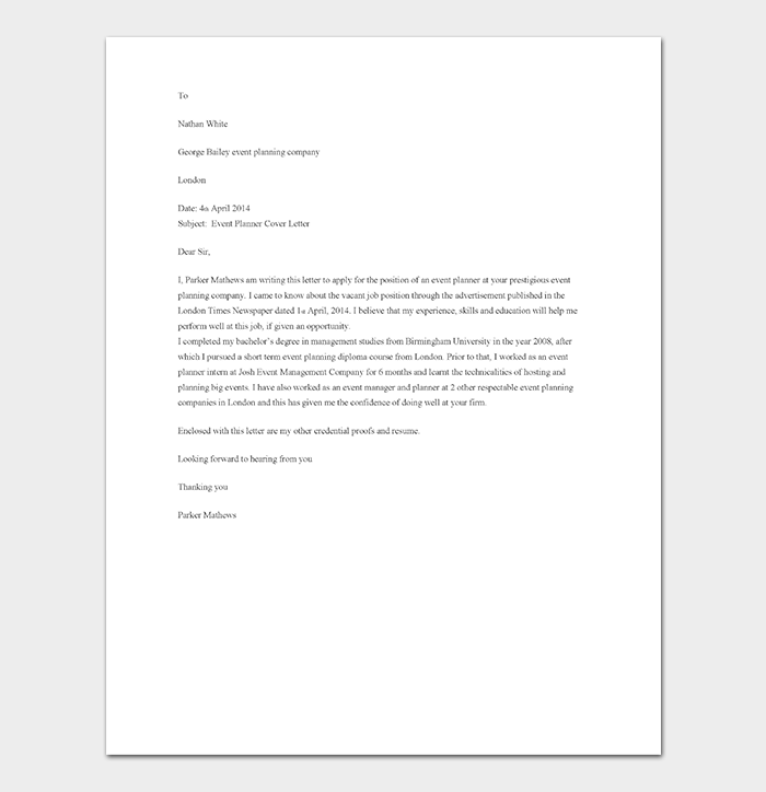 8 Event Planner Cover Letters: 60+ (for Word, PDF Format