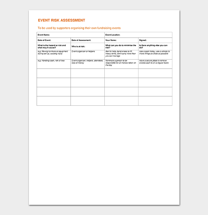 Event Risk Assessment Template