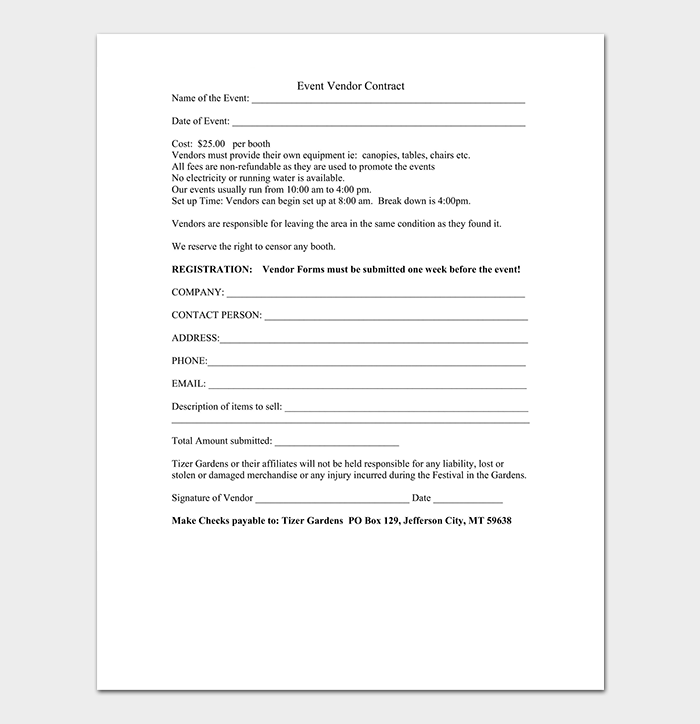 Blank Event Vendor Contract. Event Vendor Contract Template  Blank Contract Template