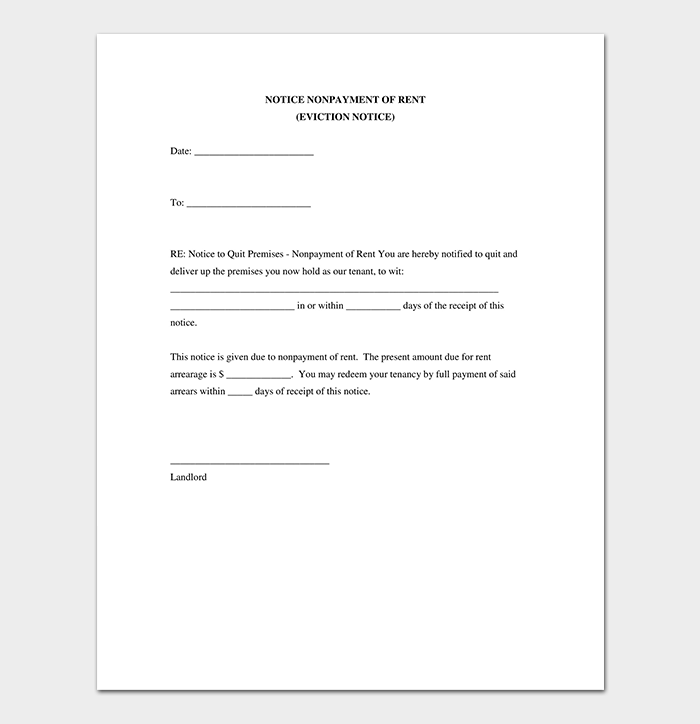 Eviction notice 24 sample letters templates eviction notice nonpayment of rent altavistaventures Image collections