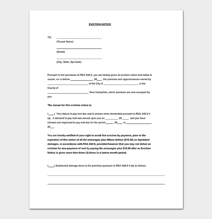 Eviction Notice Template DOC  Notice To Tenants Template