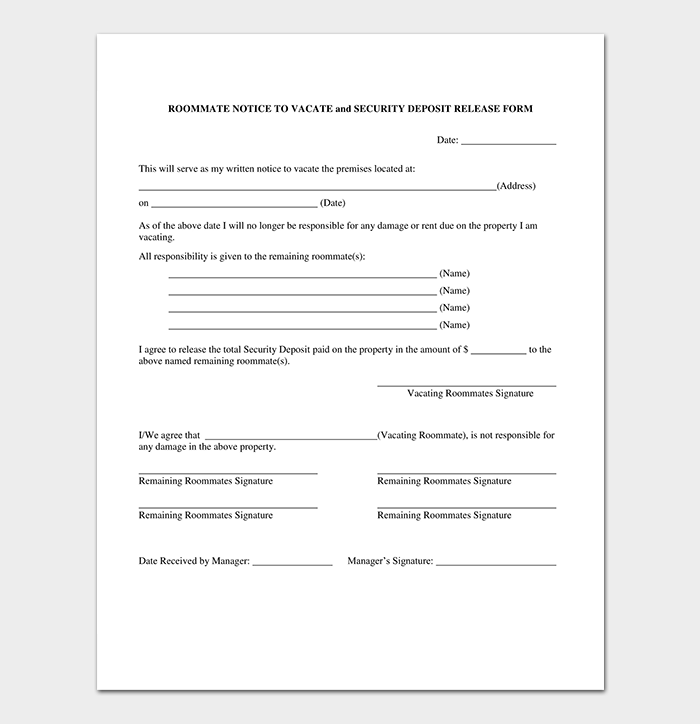 Eviction Roommate Notice Template