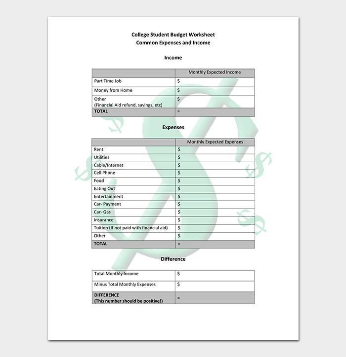 Excel College Budget Worksheet