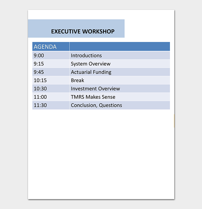 Executive Workshop Agenda Template