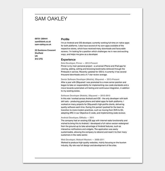 android developer resume template
