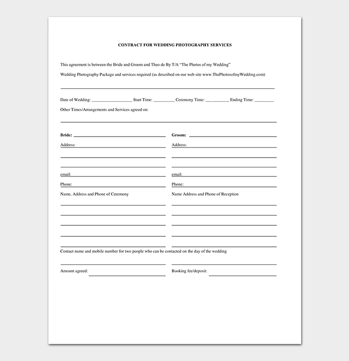 Fillable Wedding Photography Contract