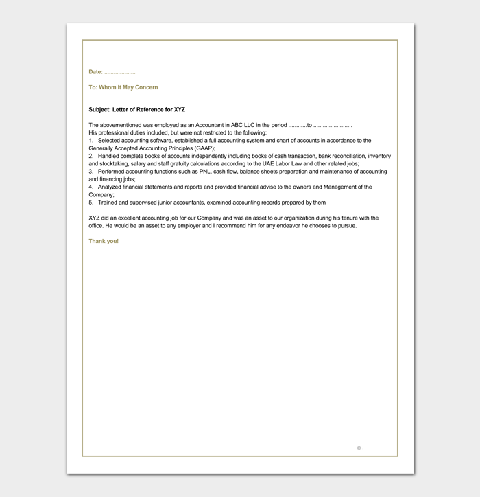 Financial Accountant Reference Letter