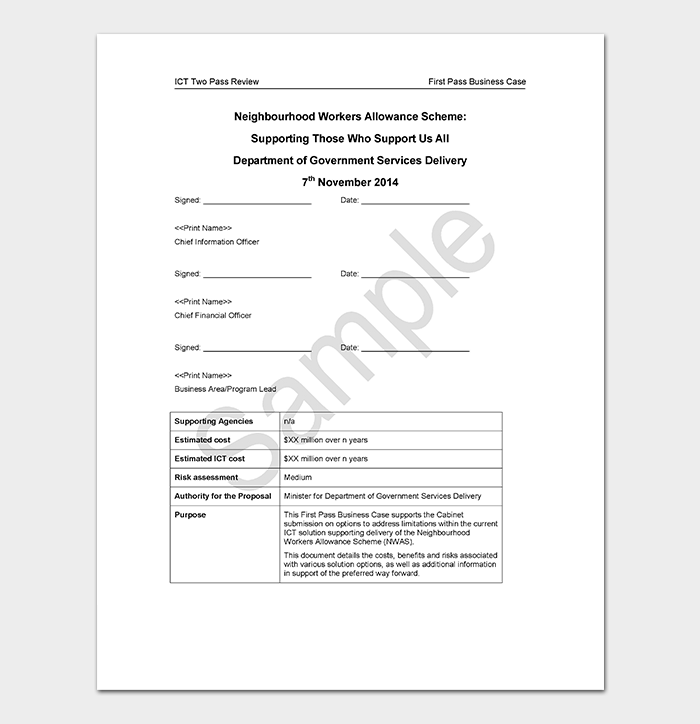 Business case template 9 simple formats for word excel pdf first pass business case sample cheaphphosting Images