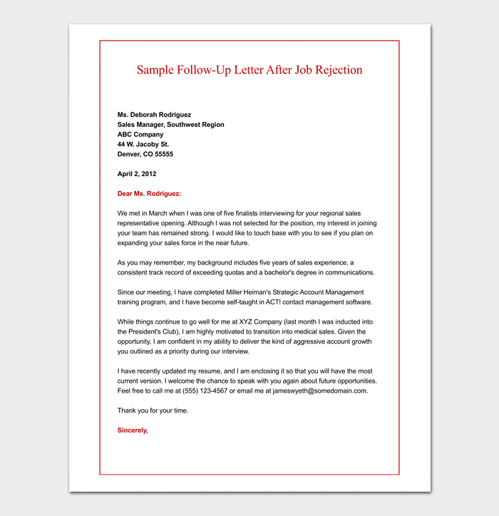 Job Rejection Letter 10 Templates Samples Examples