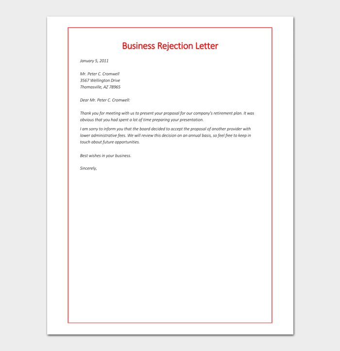 Formal rejection letter template samples examples formal business rejection letter sample altavistaventures Images