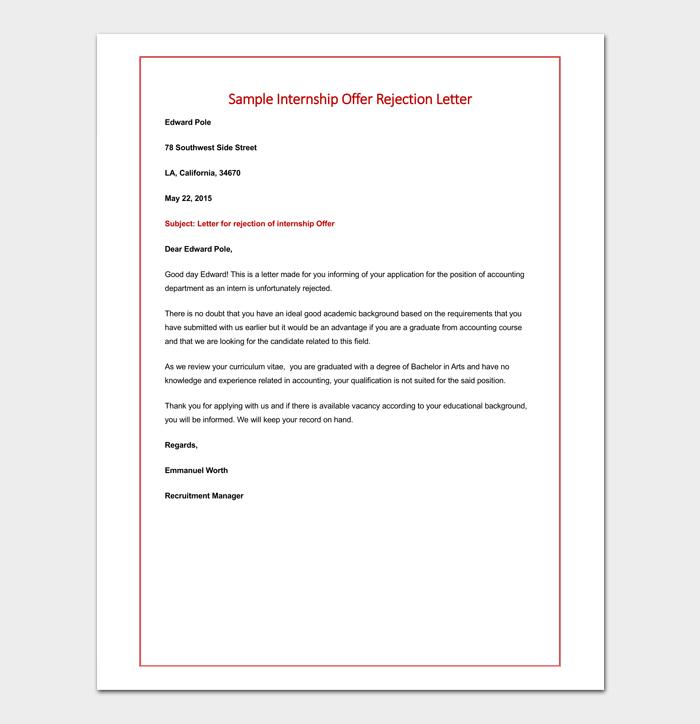 Offer rejection letter template samples formats formal interview offer rejection sample spiritdancerdesigns Images