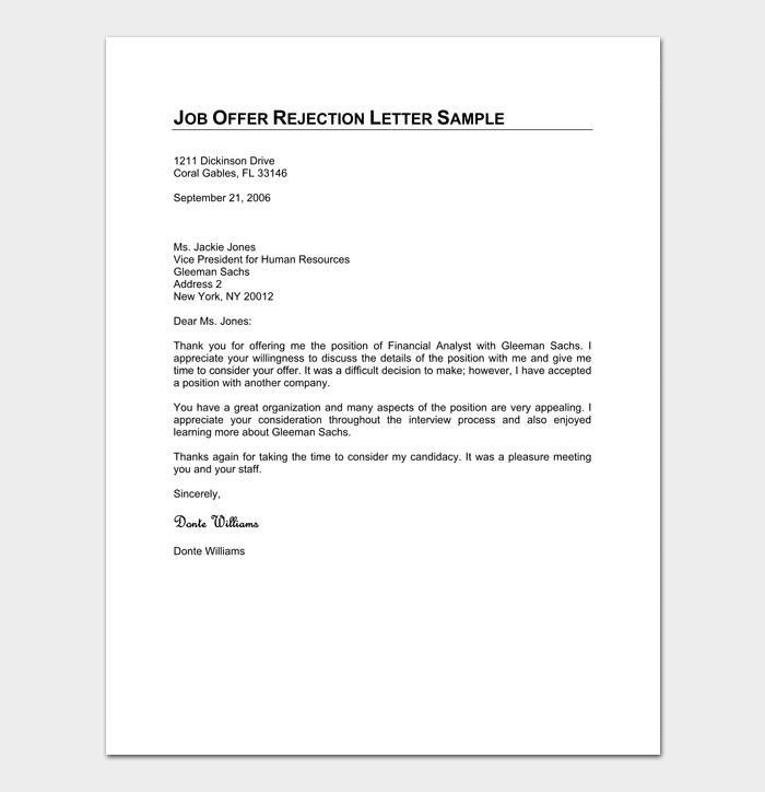 Formal Job Offer Rejection Format
