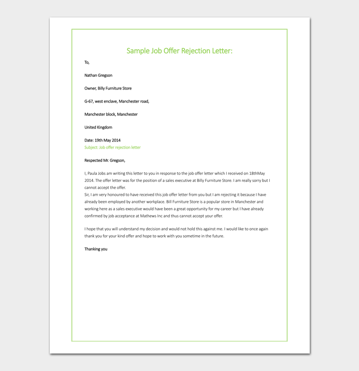 Offer rejection letter template samples formats formal offer rejection letter example spiritdancerdesigns Image collections