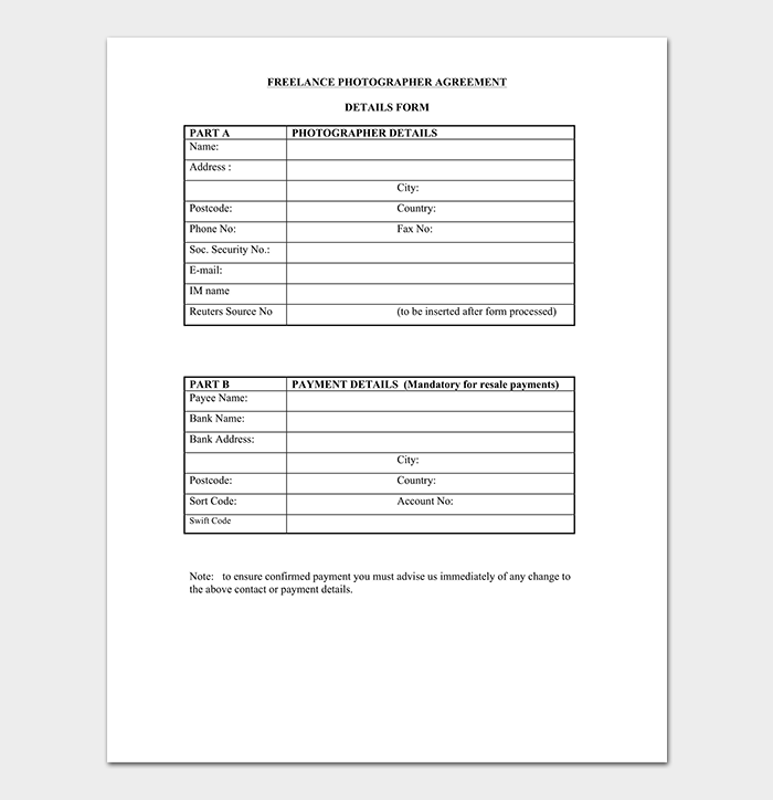 Photography Contract Template 40 Free In Word Pdf