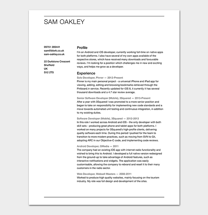 Fresher Android Developer Resume