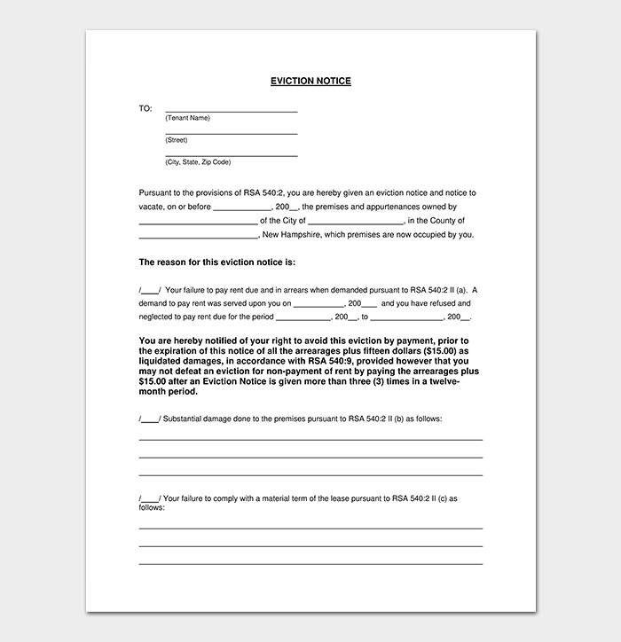 Generic Eviction Notice Template