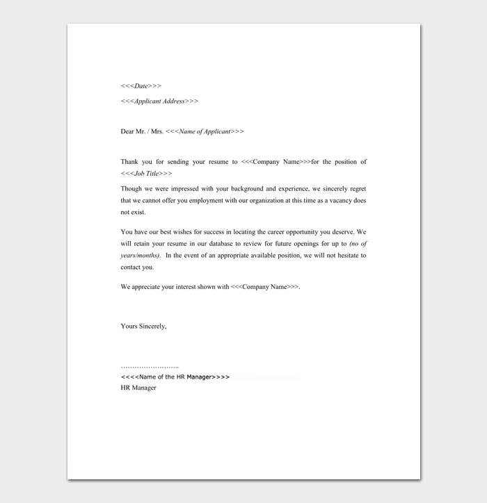 HR Application Rejection Letter