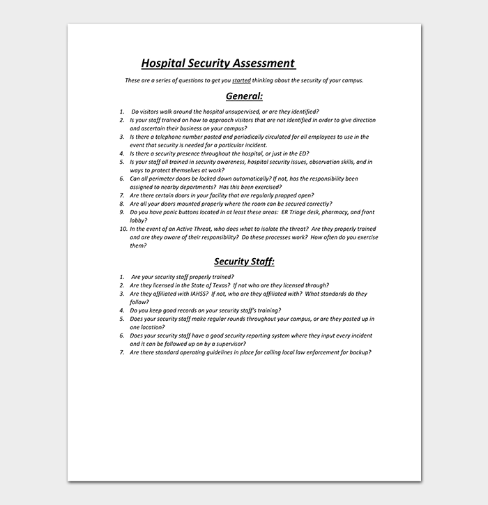 Hospital Security Assessment Template