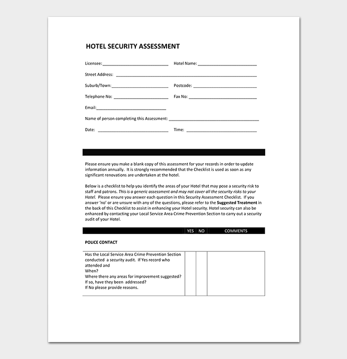 Hotel Security Assessment Template