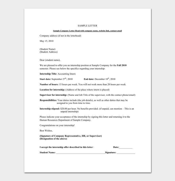 Internship Acceptance Letter Format