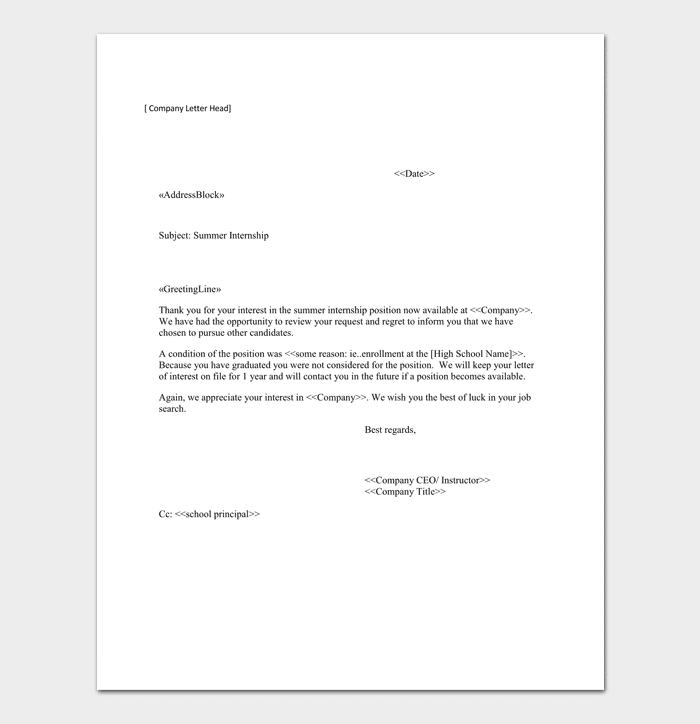 Internship Rejection Letter Template Sample Letters
