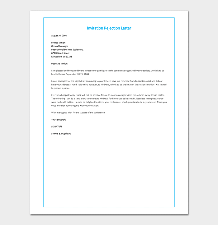 Invitation Rejection Letter Example